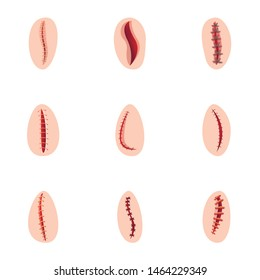 Injury suture icon set. Cartoon set of 9 injury suture vector icons for web design isolated on white background