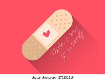"""injury tape plaster flat design vector style with text """"Take care yourself"""""""