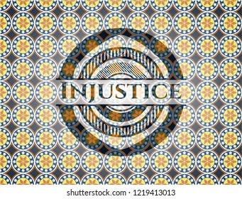 Injustice arabesque badge. arabic decoration.