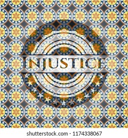Injustice arabic emblem background. Arabesque decoration.