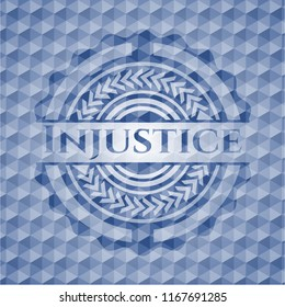 Injustice blue emblem or badge with abstract geometric polygonal pattern background.