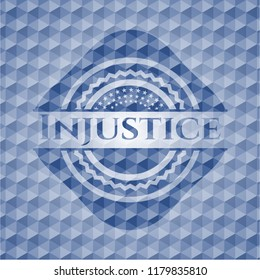 Injustice blue polygonal emblem.
