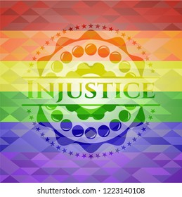 Injustice emblem on mosaic background with the colors of the LGBT flag
