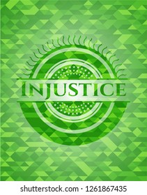 Injustice green emblem with triangle mosaic background