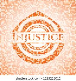 Injustice orange tile background illustration. Square geometric mosaic seamless pattern with emblem inside.