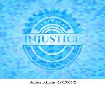 Injustice realistic light blue mosaic emblem