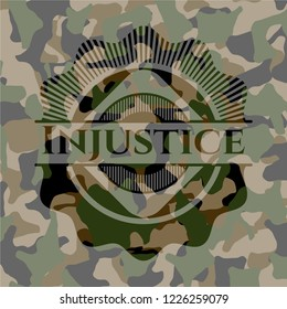 Injustice written on a camouflage texture