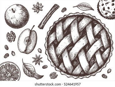 Ink apple pie set with apples, cinnamon, raisins