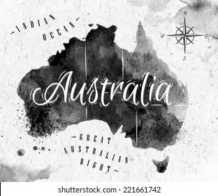 Ink Australia map in black and white graphics in vintage style