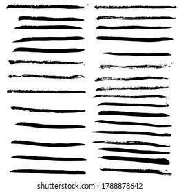 Ink black grunge stripes set. Vector illustration.