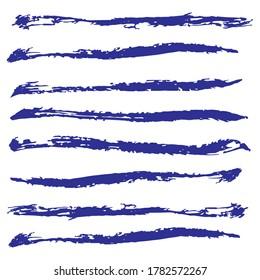 Ink blue grunge stripes set. Vector illustration.