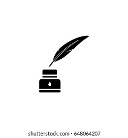 ink bottle with feather pen vector icon