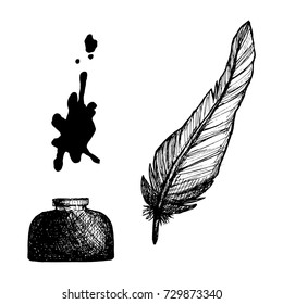 Ink bottle and quill feather hand drawn sketch vector illustration