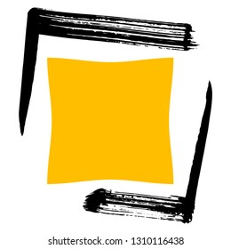 Ink bristle brush stroke corners frame a yellow quadrilateral. It is graphic background for your text.