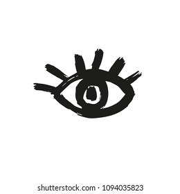 Ink brush drawn eye. Vector sign of human eye.