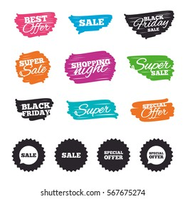 Ink brush sale banners and stripes. Sale icons. Special offer speech bubbles symbols. Shopping signs. Special offer. Ink stroke. Vector