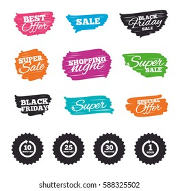Ink brush sale banners and stripes. Every 10, 25, 30 minutes and 1 hour icons. Full rotation arrow symbols. Iterative process signs. Special offer. Ink stroke. Vector