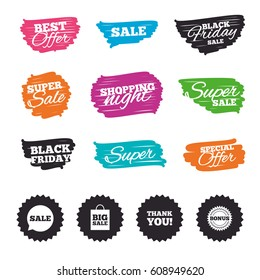 Ink brush sale banners and stripes. Sale speech bubble icon. Thank you symbol. Bonus star circle sign. Big sale shopping bag. Special offer. Ink stroke. Vector