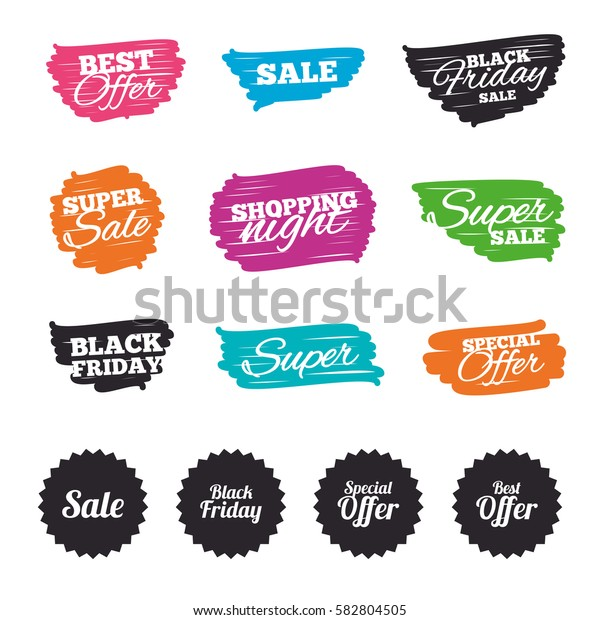 Ink brush sale banners and stripes. Sale icons. Best special offer symbols. Black friday sign. Special offer. Ink stroke. Vector