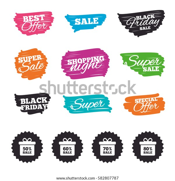 Ink brush sale banners and stripes. Sale gift box tag icons. Discount special offer symbols. 50%, 60%, 70% and 80% percent sale signs. Special offer. Ink stroke. Vector