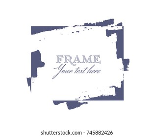 Ink brush strokes frame square shape for decor of banners, inscriptions, logos and art products in grunge design