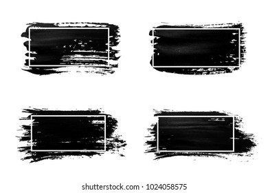 Ink brush strokes set. Acrylic paint with grunge texture strokes. Dirty black ink spots and white frames. Vector