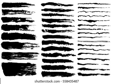 Ink brush strokes, Set of paint spots. hand made creative abstract design. vector