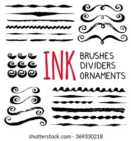 Ink brushes, dividers and ornaments set. Hand painted with brush. Hand drawn decorative whimsical elements. Flourishes, swashes, swirls. Scrapbooking, baby shower, wedding invitations, birthday cards.