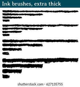 Ink brushes, extra thick. 16 vector brushes made from ink strokes. They are 4 different strokes, and of each one they are presented 4 versions of different length: long, medium, short and very short.