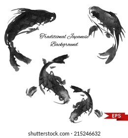Ink carp illustration in traditional style. Vector image.