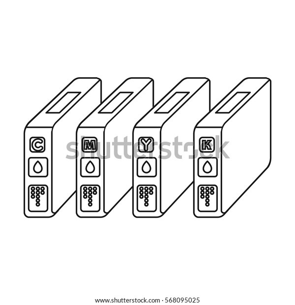 Ink cartridges in outline style isolated on white background. Typography symbol stock vector illustration.