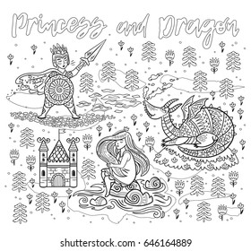 Halloween Coloring Page Ink Children Print With Knight Princess And Dragon In Fairy Tale Style Vector Contour