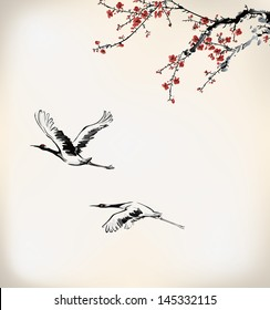 ink crane and winter sweet
