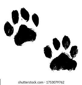 Ink Dog's Paw illustration, Cat`s Paw. Print Vector