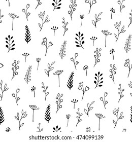 Ink doodle flowers - seamless pattern