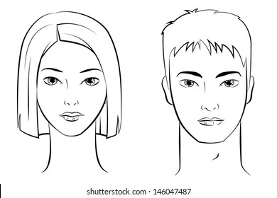 Ink Drawing of Asian Female and Male Faces.