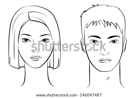 ink drawing asian female male faces stock vector royalty free