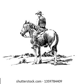 Ink drawing of cowboy on horse.