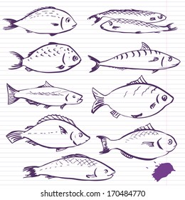 Ink drawing fishes, vector illustration