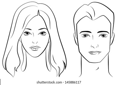 Ink Drawing of Male and Female Faces.