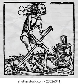 ink drawing medieval vector picture, black death - pestilence allegory