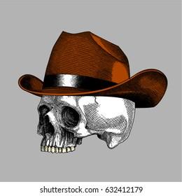 Ink Drawing Skull Cowboy, Bone Head Wearing Cowboy Hat, Skull Head Drawing Realist