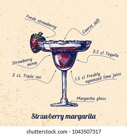 ink drawing and watercolor vector illustration of cocktail Strawberry margarita and its ingredients. On old paper background.