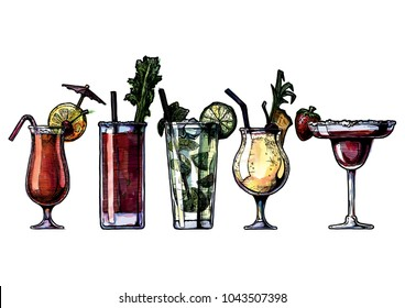 ink drawing and watercolor vector illustration set of alcohol cocktails. Sex on the beach, bloody mary, mojito, pina colada and strawberry margarita.