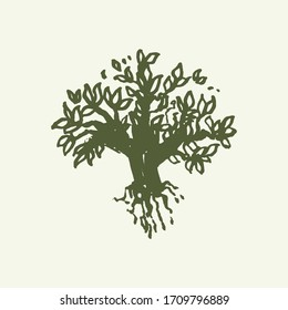 Ink drawn illustration with tree. Sketch ink style. Tree silhouette.