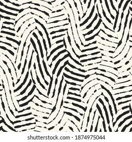 Ink Drawn Zebra Stripes Seamless Pattern