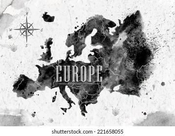Ink Europe map in black and white graphics in vintage style