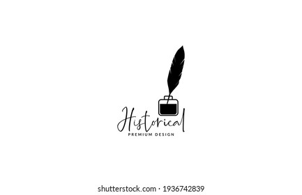 ink and feather old as pencil old logo vector symbol icon illustration design