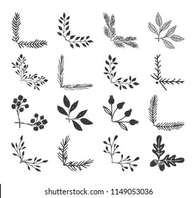 Ink floral corners. Sketched vector illustration. Fancy borders. Isolated.