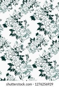 ink flower vector sketch illustration japanese chinese oriental line art seamless pattern